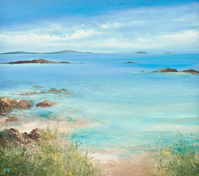 A Spring Tide Washes over the Sands, Tresco painting by artist Amanda HOSKIN