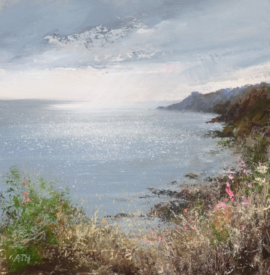 Modern Artist Amanda HOSKIN - Light in the Bay Looking Towards St Catherine's Castle Fowey