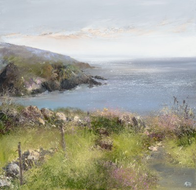 Sea Pinks on the Coastal Path to Gwithian  painting by artist Amanda HOSKIN
