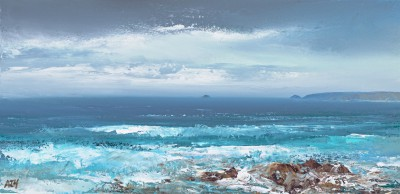 Modern Artist Amanda HOSKIN - Sea Rushes in at Constantine Bay