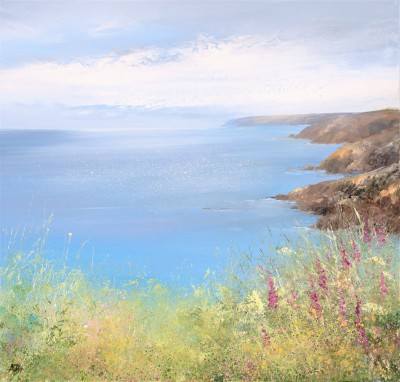 Modern Artist Amanda HOSKIN - Foxgloves watch over the Bay, Fowey