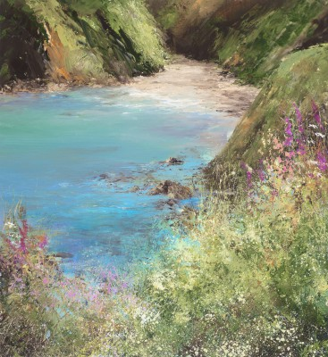 Modern Artist Amanda HOSKIN - A Moment to Sit and Rest a While, on the Coastal Path to Little Dartmouth