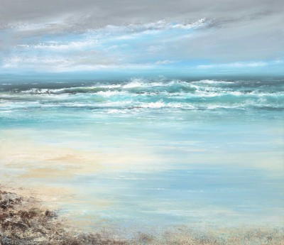 Modern Artist Amanda HOSKIN - Watching the Waves as they Dance and Roll over the Sands