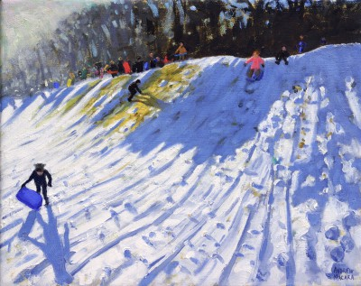 Sledging from the 2nd Green in Winter painting by artist Andrew MACARA
