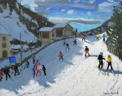 'Skiing Down to Selva' painting