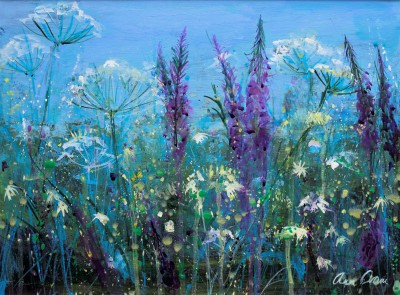Modern Artist Ann ORAM - Field Edge with Cow Parsley