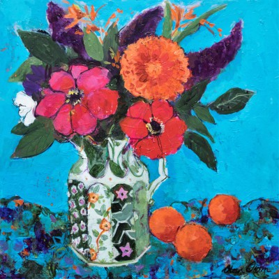 Modern Artist Ann ORAM - Dahlias in the Ironstone Jug