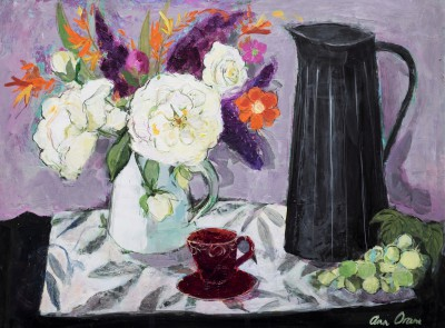 Modern Artist Ann ORAM - Black Jug and Summer Flowers