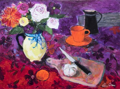 Modern Artist Ann ORAM - Kitchen Still Life with Summer Flowers