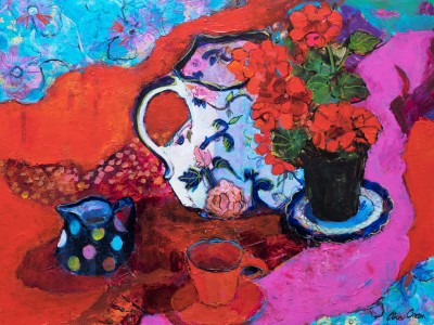 Modern Artist Ann ORAM - Geranium Still Life on Reds and Pinks
