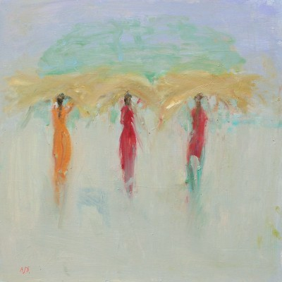 Modern Artist Ann SHRAGER - Ladies in Saris Carrying Grass
