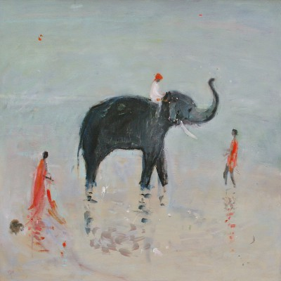 Modern Artist Ann SHRAGER - Elephant in the Pool