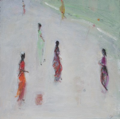Modern Artist Ann SHRAGER - Six Ladies in Saris