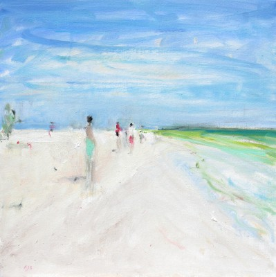 Modern Artist Ann SHRAGER - Figures on the Beach