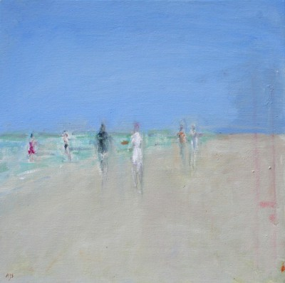 Modern Artist Ann SHRAGER - Six Figures on the Beach
