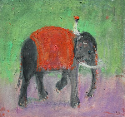 Modern Artist Ann SHRAGER - Black Elephant and Mahout