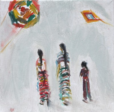Modern Artist Ann SHRAGER - Guatemalan Ladies and Kites