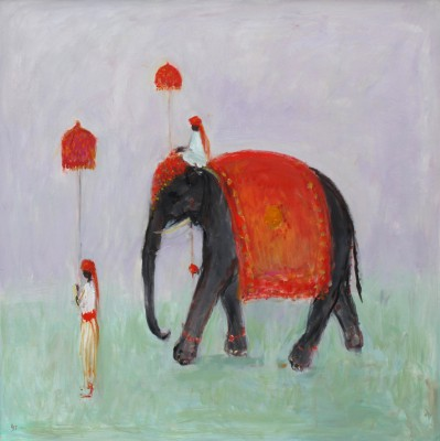 Modern Artist Ann SHRAGER - Elephant and Mahout
