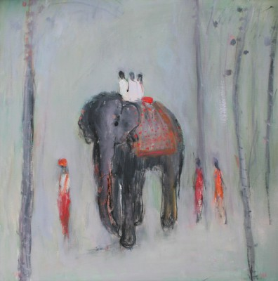 Modern Artist Ann SHRAGER - Walking with the Elephant