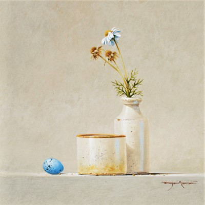 Bryan HANLON, contemporary artist - Daisies and Song Thrush Egg