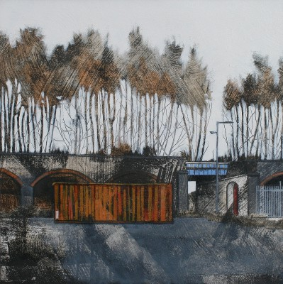 Cate INGLIS - Orange Container, Blue Bridge