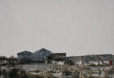 Blue Warehouses painting by artist Cate INGLIS