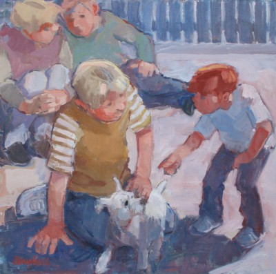 Modern Artist Catriona CAMPBELL - Boys and a Wee White Dog