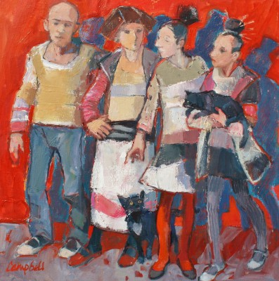 Modern Artist Catriona CAMPBELL - Four Dancers Waiting