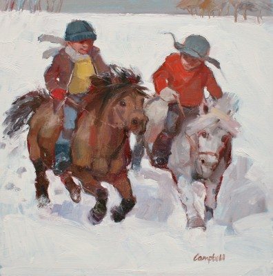 Modern Artist Catriona CAMPBELL - Boys and their Ponies