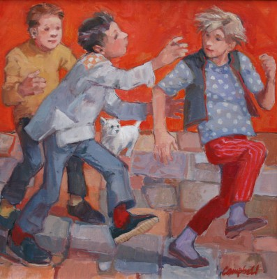 Modern Artist Catriona CAMPBELL - Race Along the Red Wall