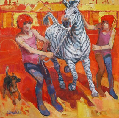 Modern Artist Catriona CAMPBELL - Two Girls, a Zebra and a Small Dog