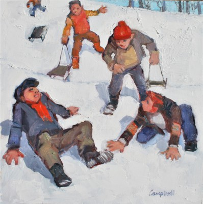 Boys Sledging painting by artist Catriona CAMPBELL