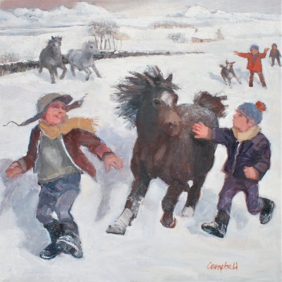 Modern Artist Catriona CAMPBELL - Pony Racing in the Snow