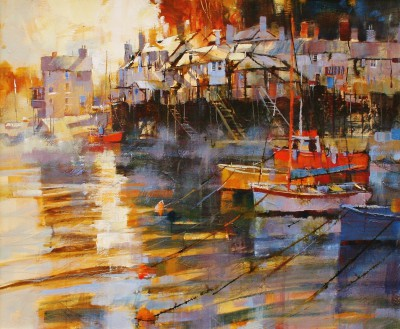 Modern Artist Chris FORSEY - Moored in the Mist, Fowey