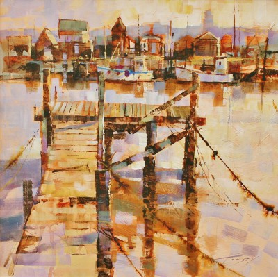 Modern Artist Chris FORSEY - Ropes, Jetty and Fishermen's Huts, Southwold