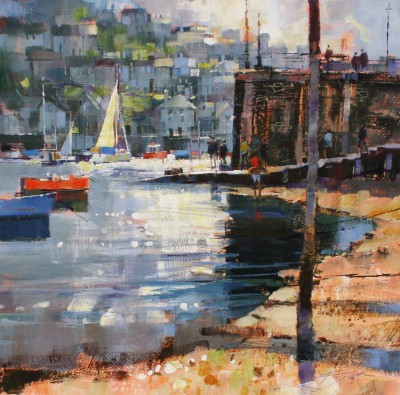 Modern Artist Chris FORSEY - Getting the Ferry, Fowey