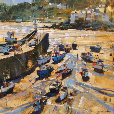 Modern Artist Chris FORSEY - Harbour Shadows and Sunlight, St Ives