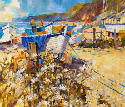 Modern Artist Chris FORSEY - Boats, Tarps and Daisies, Budleigh Salterson