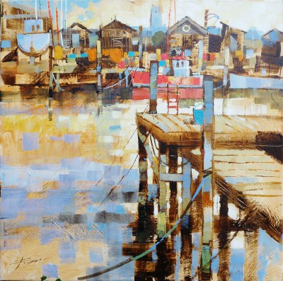 Modern Artist Chris FORSEY - Jetties, Boats and Fishing Sheds