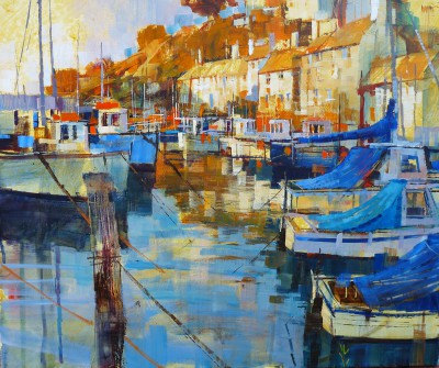 Modern Artist Chris FORSEY - Harbour Blues and Golds