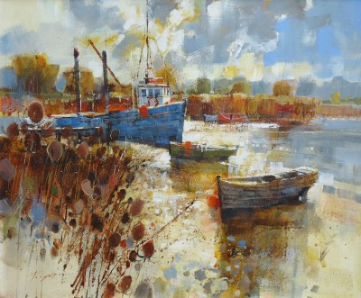 Modern Artist Chris FORSEY - Reeds, Boats and Clearing Skies