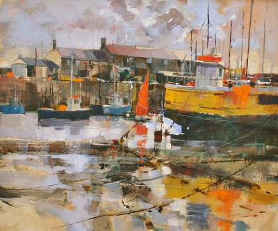 Modern Artist Chris FORSEY - Red Sail Yellow Hull, Lyme Regis