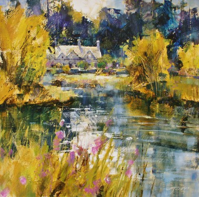 Modern Artist Chris FORSEY - Bibury Cottages, Spring Sunshine