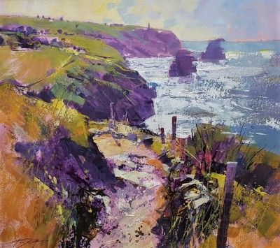 Modern Artist Chris FORSEY - Path along the Cliff, North Cornwall