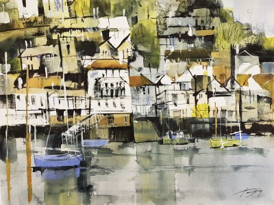 Modern Artist Chris FORSEY - Kingswear from Dartmouth