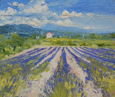 Lavender Field, Provence painting by artist Colin CARRUTHERS