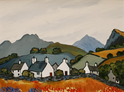 Modern Artist David BARNES - Cottages above the Conwy Valley