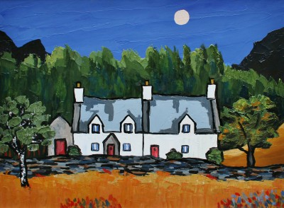 Cottages in the Gwydir Forest painting by artist David BARNES