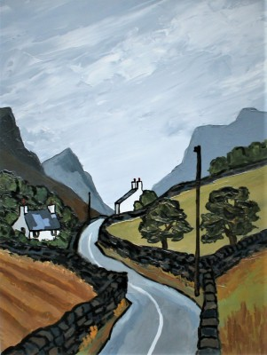 Modern Artist David BARNES - Road Through the Pass