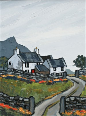 Modern Artist David BARNES - Farm In The Rhiniogs